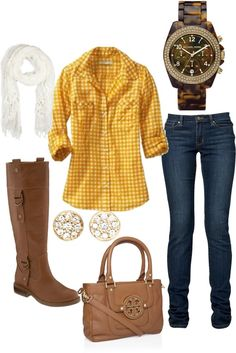yellow gingham shirt. Dark wash jeans. White scarf. Brown riding boots. Cute outfit. I would definitely wear this.