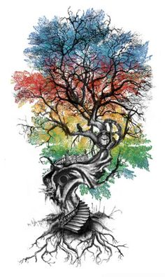 Super tree of life tattoo ideas words ideas Kunst Tattoos, Tattoo Drawings, Art Drawings, Tree Sleeve Tattoo, Back Tattoo, Tattoo Sleeves, Full Sleeve Tattoos, Tattoo Life, Nature Tattoos