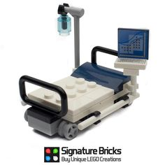 Expand your LEGO city hospital with this Detailed hospital bed with monitor. Add this to your LEGO City hospital. Lego Hospital, Hospital Bed, City Hospital, Lego Design, Lego Duplo, Lego Technic, Lego City, Legos, Lego Bed