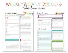 teachers weekly planner template
