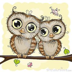 Greeting card with Two Owls