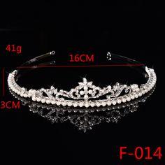 F014 Wedding Pageant Tiara Bridal Rhinestones Crystal Crown Headband Princess Headpiece