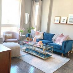 Terrace Coffee Table At West Elm Coffee Tables Accent Tables Living Room Tables Glam Living Room, Elegant Living Room, Home And Living, Small Living, Living Rooms, Modern Living, Blue And Pink Living Room, Luxury Living, Cute Living Room