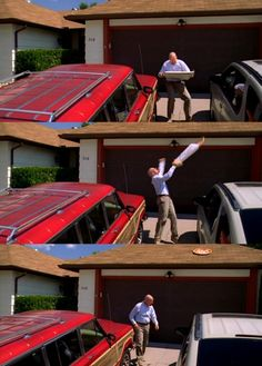 Walter White's pizza toss to top of garage -- director said he did it on the first take -- they couldn't believe it