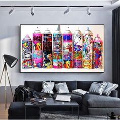 Graffiti Pop Art Spray Can Collection Wall Posters And Prints Colorful Graffiti Paint Bottle Decorative Pictures For Bar Cafe. Subcategory: Home Decor. Canvas Wall Art, Wall Art Prints, Big Canvas, Abstract Canvas, Famous Pop Art Artists, Types Of Art Styles, Coffee Wall Art, Cafe Art, Graffiti Painting