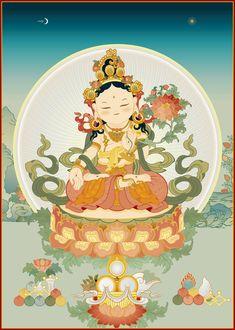 Tibet Art, Vajrayana Buddhism, Thangka Painting, Little Buddha, Gautama Buddha, Buddha Art, Goddess Art, Antique Illustration, Tibetan Buddhism