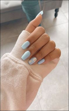 91 simple short acrylic summer nails designs for 2019 page 13 Nageldesign Nail Art Nagellack Nail Polish Nailart Nails Simple Acrylic Nails, Blue Acrylic Nails, Pastel Nails, Acrylic Nail Designs For Summer, Acrylic Nails Coffin Short, Acrylic Nails Designs Short, Colorful Nails, Blue Nail Designs, Short Nail Designs