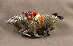 Early Deco Ciner Brooch 2 Jockeys Race Horses Racing Enameled Pave Rhinestone | eBay