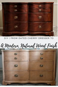 Natural wood furniture - Cherry Dresser Makeover to Natural Wood Finish Natural Wood Dresser, Natural Wood Furniture, Natural Wood Finish, Repurposed Furniture, Rustic Furniture, Refurbished Furniture, Western Furniture, Vintage Furniture, Modern Furniture