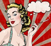 Pop Art woman with the speech bubble and cigarette. - Buy this stock illustration and explore similar illustrations at Adobe Stock Art And Illustration, Pop Art Vintage, Pop Art Women, Pop Art Girl, Vintage Advertising Posters, Art Graphique, Pin Up Girls, Collages, Comic Art