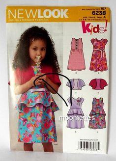 Girls Bolero Vest Dress Sewing Pattern 3 4 5 6 7 8 Simplicity 6238 New Uncut #Simplicity #kids