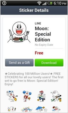 Naver LINE Stickers Free Download Celebrate Reach 100 Million Users