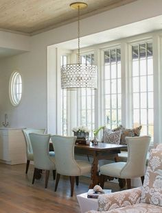 Tracery Interiors: Chic, elegant dining room with built-in banquette, Oly Studio Serena Drum Pendant, wood . Interior Design Blogs, Home Design, Design Hotel, Room Interior, Interior Decorating, Decorating Ideas, Design Ideas, Dining Room Lighting, Dining Room Chairs