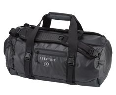 Electric California 1/4 Track Duffel -- A good medium size duffel bag with a host of useful features including a backpack shoulder strap, small easy access end compartment and goggle case, bag compression straps, and waterproof zipper side stash pocket. The duffel bag is made from coated nylon Ripstop fabric with tarp reinforcement for wear areas.