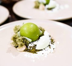 """#Repost @imstillhungry_ ・・・ / @koidb / the """"Moss"""" – Pistachio mousse, caramel gel, white chocolate matcha dulce cremeaux, pistachio sponge, matcha moss, apple blossom jelly, nitro lime & yoghurt and green apple // this dessert as feature on @masterchefau tastes as good as it looks! That pistachio mousse and green apple sorbet 😍 - my blog post on Koi has now been updated!"""