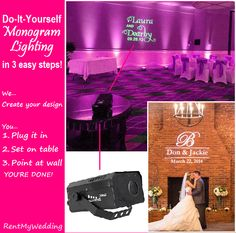 Love monogram lighting but not sure to start? Here you go! DIY Monogram Lighting in 3 Easy Steps! Get the look for $99 + free shipping nationwide at www.RentMyWedding.com. #howto #gobo #monogram #lighting #tutorial #infographics #infographic #diy #instructions #setup #weddinghelp #eventplanning #wedding101 #lighting101 #weddingplanning #rentmywedding #bigday #diybride #diywedding #wedding #event #ideas #inspiration #weddingplanner #eventplanner #goboprojector #gobolight #monogramlight