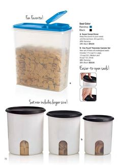 Tupperware ONE TOUCH  REMINDER CANISTER SET with newly designed Easier-to-open-seals!!.......SUPER CEREAL STORER.......Visit my website to see more Tupperware offers via: www.my.tupperware.com/KarinMcClelland  You may place an order to be shipped directly to you from my website or if you are in Northwest Arkansas you may contact me via email at: KarinsTupperware@aol.com to place an order