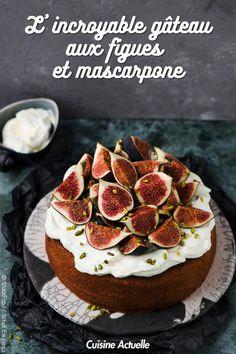 La recette du gâteau aux figues et au mascarpone #recette #recettefacile #idéerecette #gâteau #figues #mascarpone Macaron, Cravings, Cheesecake, Pie, Sweets, Fruit, Food, Mascarpone Cake, Gourmet Desserts