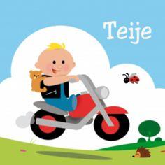Stoer geboortekaartje met jongetje op motor