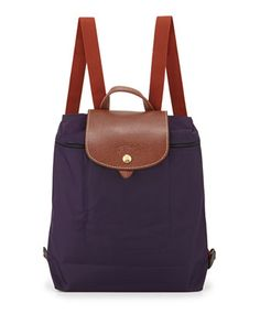 NMhandbags Le Pliage Nylon Backpack, Bilberry by Longchamp