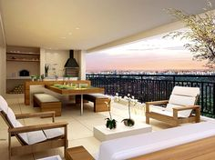 Terraço Apto. 227m² Small Balcony Design, Terrace Design, Interior Flat, Interior Design, Sweet Home, Modern Loft, Decorating Small Spaces, Apartment Living, Country Decor