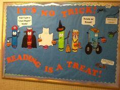 use Bobbleheadz October Bulletin Boards, Elementary Bulletin Boards, Halloween Bulletin Boards, Elementary School Library, Elementary Schools, Library Signs, Library Bulletin Boards, Bulletin Board Display, Display Boards