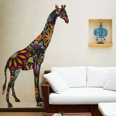 """- Product: ornate giraffe wall sticker decal - Sizes: S-5.25""""w x 15""""h; M-15""""w x 42.9""""h; L-32.5""""w x 93""""h - Shape: cut out - Style: highly-detailed, black and white illustration - Material: fabric stick"""