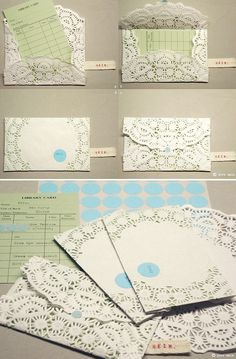 Doily Envelopes DIY - Full Step-by-Step Tutorial. - This is how I did my wedding invitations 20 years ago! Diy Paper, Paper Crafting, Paper Art, Envelope Diy, Diy Projects To Try, Craft Projects, Ideias Diy, Doilies, Making Ideas