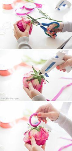 dekotipps, serviettendeko, serviettenring aus draht und rose basteln