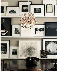 black and white photos on ledge