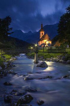 Church (Pfarrkirche St. Sebastian), Village of Ramsau, Berchtesgaden, Bavaria, Germany
