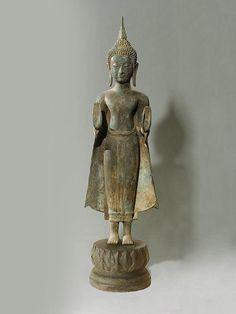 Bronze Standing Buddha Statue. Buddhist Sculpture by SiamSawadee, $149.99