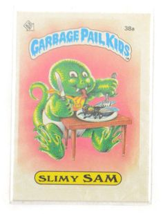 Vintage 80s Garbage Pail Kids Slimy Sam 38a Series 1 Sticker Glossy Collectible Trading Card by Dopedoll on Etsy https://www.etsy.com/listing/249328835/vintage-80s-garbage-pail-kids-slimy-sam