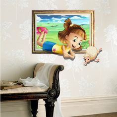 3D Baby Kids Room Cartoon Little Girl Sheep Game Wall Decals Removable Paper Stickers Art DIY Gift Decoration
