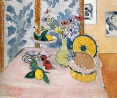Henri Matisse   Still LIfe, Pineapples, Fruit Bowl, Fruit, Vase of Anemones   1925   oil on canvas   Philadelphia Museum of Art