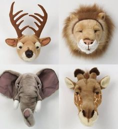 Plush taxidermy, they even have country, forrest and wild collections so you can. - Plush taxidermy, they even have country, forrest and wild collections so you can choose the perfect - Baby Boy Nursery Themes, Safari Nursery, Baby Boy Rooms, Baby Room Decor, Baby Boy Nurseries, Themed Nursery, Kids Rooms, Animal Heads, Plush Animals