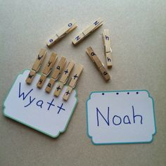 Letter & name recognition activity. I think I must run to Walmart for clothes pins!