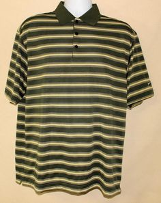 NIKE MENS STRIPPED SHIRT DRI FIT SWOOSH LOGO SIZE LARGE EUC GREAT LOOKING #Nike #PoloRugby