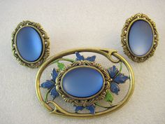 Blue Lucent Stone and Flower Design Brooch and Earring Set