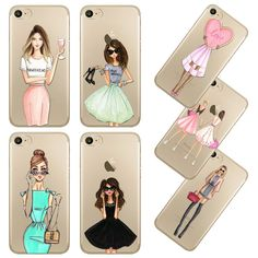 2016 sexy cô gái xinh đẹp uống điện thoại case cho apple iphone 7 6 6 s 5 5 s se 7 cộng với 6 cộng với 6 splus trong suốt mềm silicon vỏ