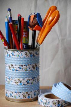 Boite de conserve recouverte de washi tape - tutoriel
