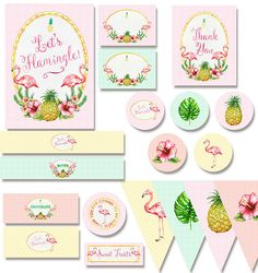 Tropical Flamingo Party Printable Pack by WestminsterPaperCo