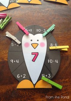 Penguin Clip Math Center Addition Subtraction to 20