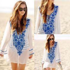 45a082d315 New Women Beach Dress Lace Chiffon Crochet Bikini Cover Up Swimwear Bathing  Suit