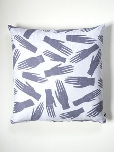 Image of Grey Palmistry Hands Linen Cushion Cover