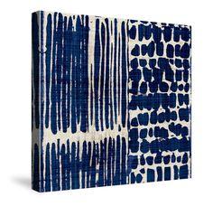 Abstract Blue Canvas Wall Art, Indigo Batik III by Pela Studio