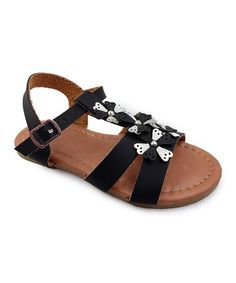 Look at this #zulilyfind! Black Mia Flower-Accent Sandal - Kids #zulilyfinds