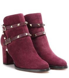 VALENTINO Rockstud suede ankle boots. #valentino #shoes #boots