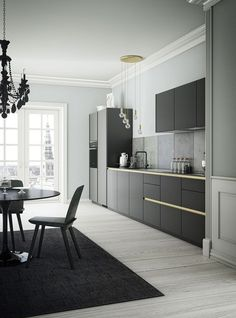 Black, Grey & Gold Colors in a Sleek, Modern Kitchen | #minimalist #kitchen #design | Stunning Kitchens | Kitchens, Black Kitchens and One Wall Kit…