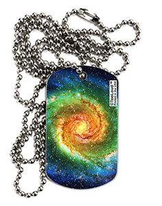 TooLoud Rainbow Tie Dye Galaxy Adult Dog Tag Chain Necklaces - 12 Pieces